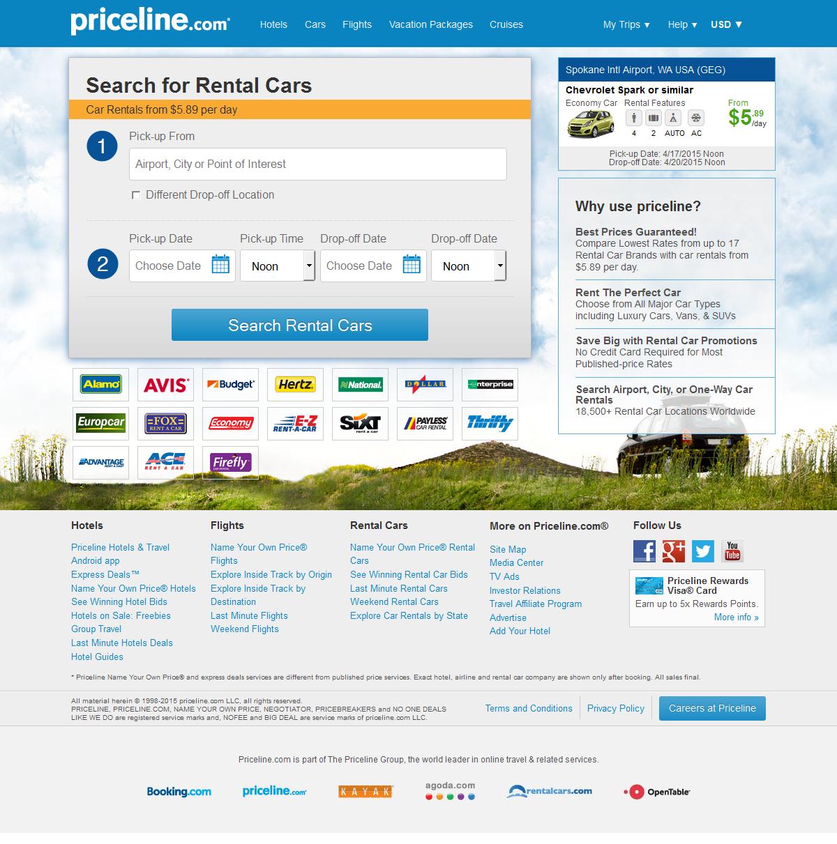Priceline Landing Page Design For Hotels Travel Car