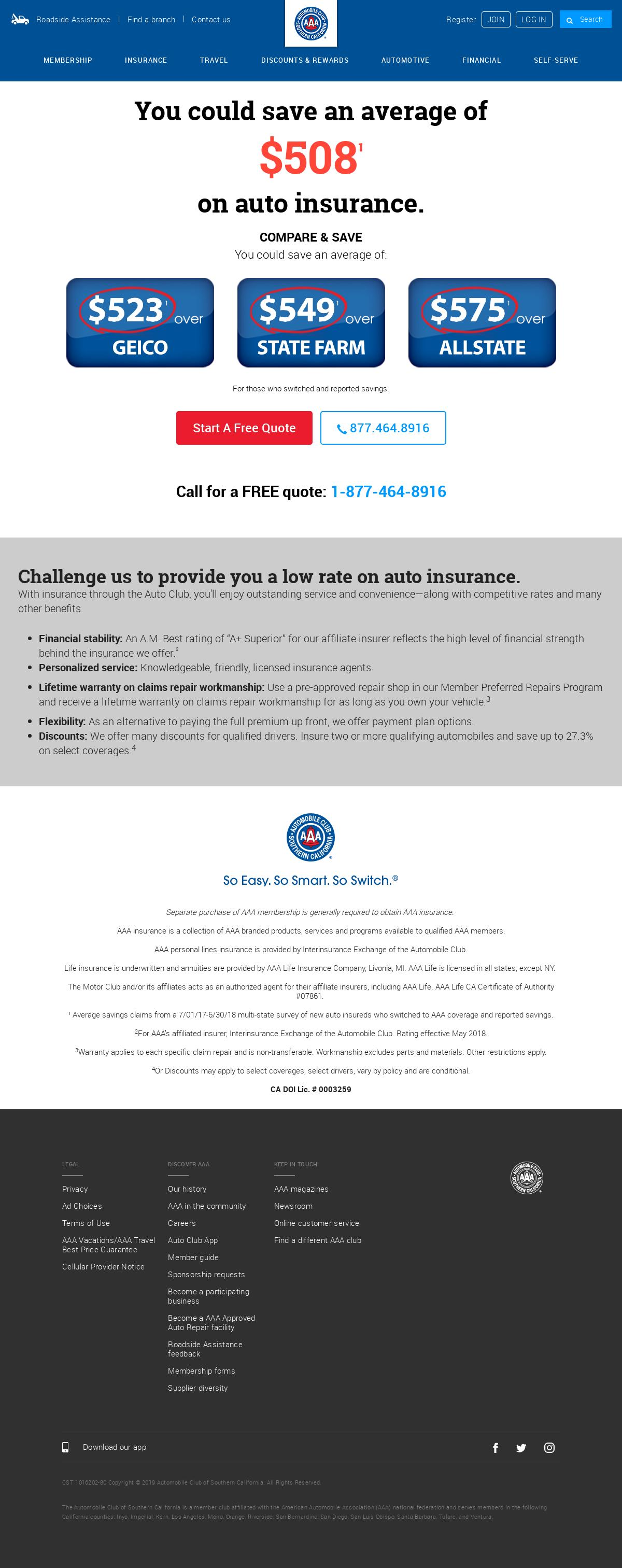 calif aaa com Landing Page Design for Insurance / Car insurance