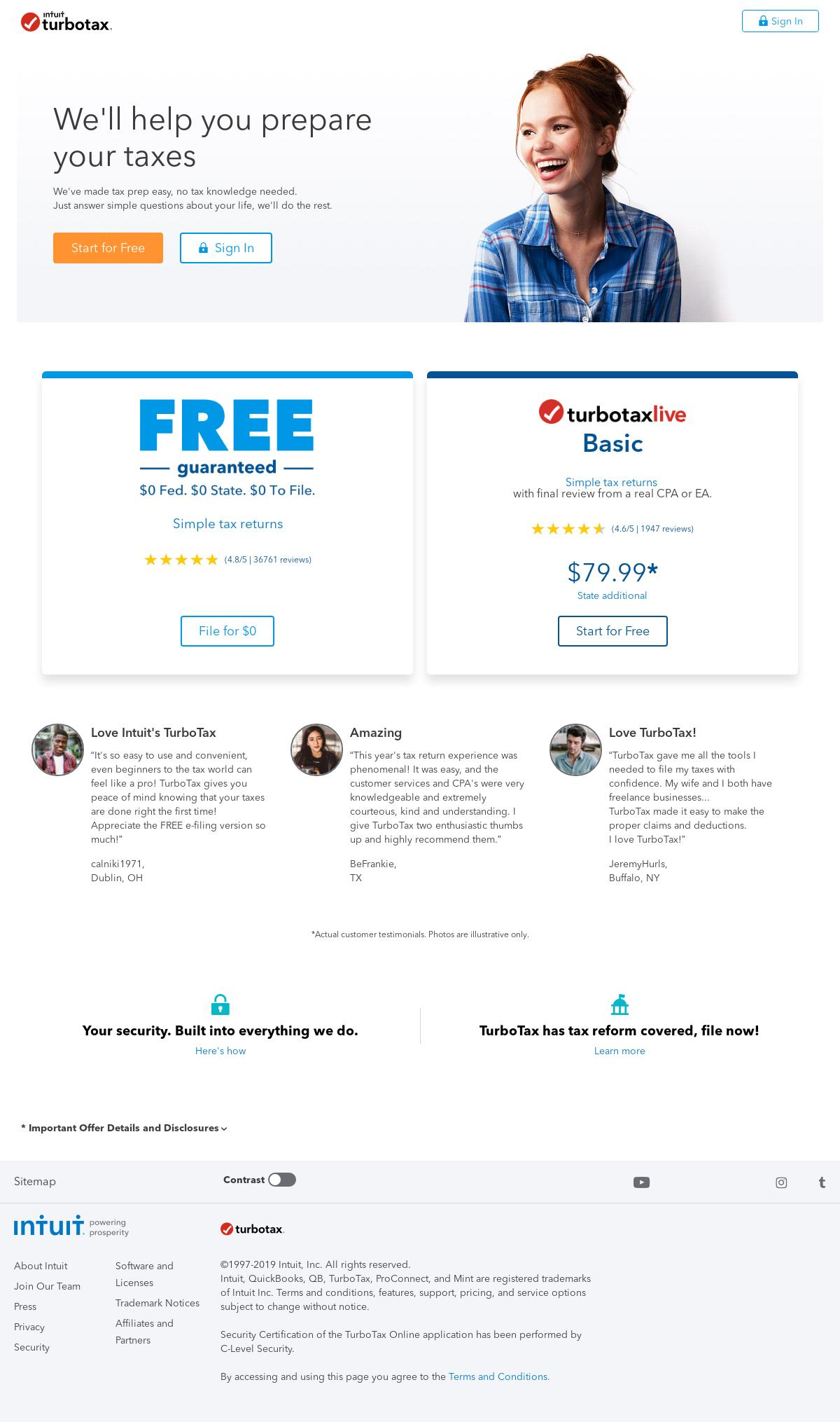 turbotax intuit com Landing Page Design for Seasonal / Tax